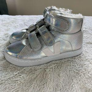 Girls Veja Silver Metallic High Top Sneakers